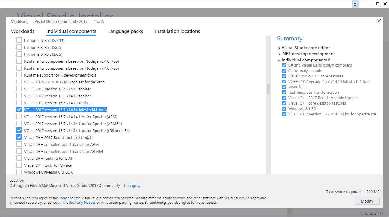 Get Tools and Features in Visual Studio 2017