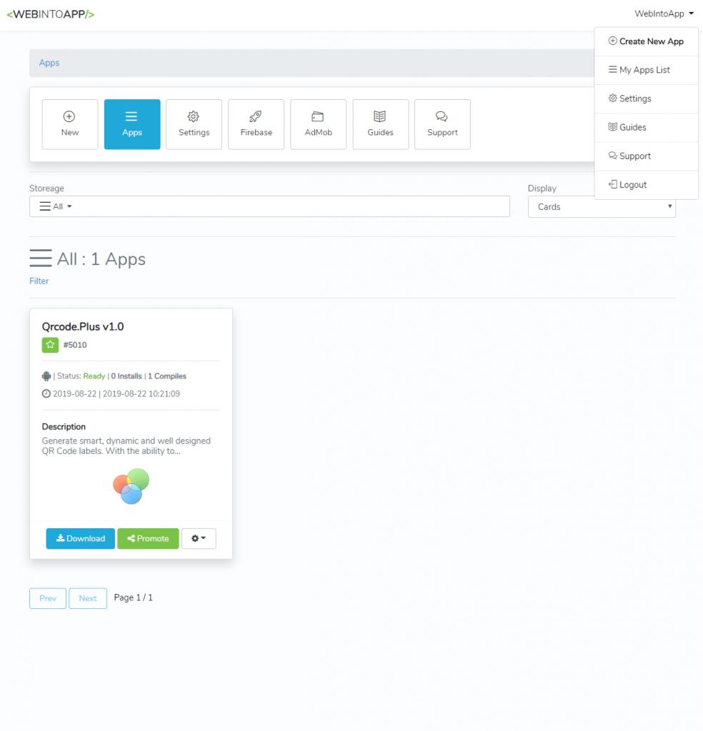 The WebIntoApp Apps List
