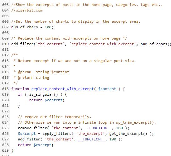 excerpt-filter-code